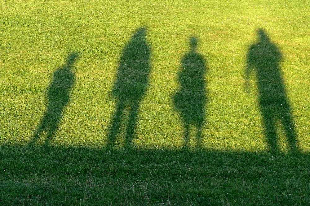 Der Schatten von zwei größeren und zwei kleineren Personen auf einer Wiese.