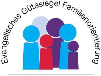 Logo des Gütesiegels in Diakoniefarben blau und violett, Kontrastfarbe rot